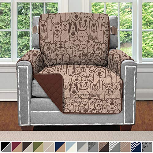 Sofa Shield Original Patent Pending Reversible Chair Slipcover, 2 Inch Strap Hook, Seat Width Up to 23 Inch Machine Washable Furniture Protector, Slip Cover Throw for Pets, Kids, Chair, Dog Chocolate
