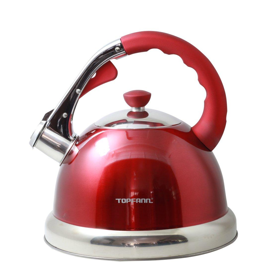 Riwendell 3.2 Quart Whistling Tea Kettle Stainless Steel Bell Shape StoveTop Teapot (GS-04555HY-3L, Blue)