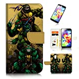 ninja turtle cases for galaxy s5 - ( For Samsung Galaxy S5 ) Wallet Case Cover & Screen Protector Bundle A20049 TNMT Ninja Turtle