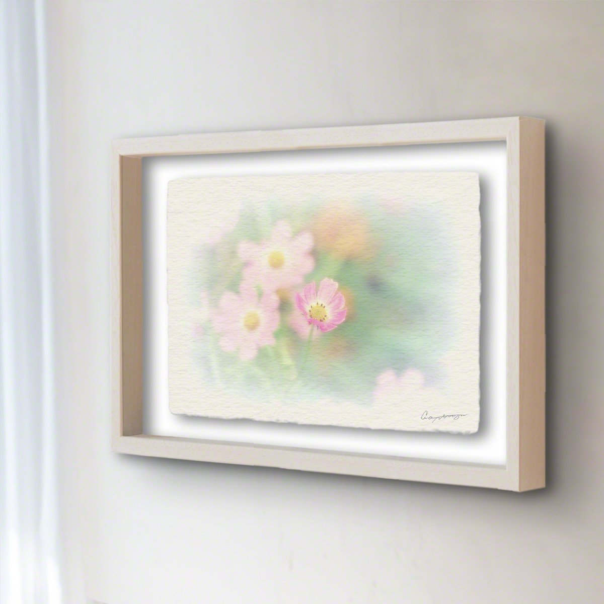 和紙 アートフレーム 「開きかけたピンクの一輪のコスモス」 (40x30cm) 花 絵 絵画 壁掛け 壁飾り 額縁 インテリア アート B07BHJ8N3P 23.アートフレーム(長辺40cm) 28000円|開きかけたピンクの一輪のコスモス 開きかけたピンクの一輪のコスモス 23.アートフレーム(長辺40cm) 28000円
