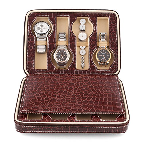Amzdeal 8 Slots Watch Display Box, Zippered Luxury Leatherette Crocodile Pattern (Dark Red) (Crocodile Square Watch)