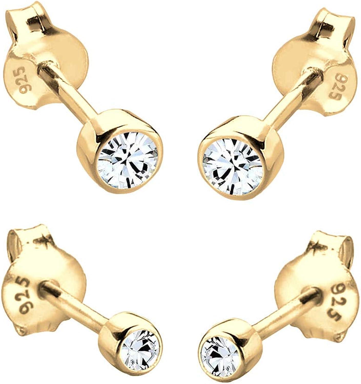 Elli Pendientes para damas set básico con cristales Swarovski® en plata esterlina de ley 925