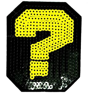 PP Patch Black Yellow Question Mark Exclamation Sequins Glitter Twinkling Sparkling Cartoon Patch for Bags Jacket T-Shirt Embroidered Sign Badge Costume DIY Applique Iron on Patch