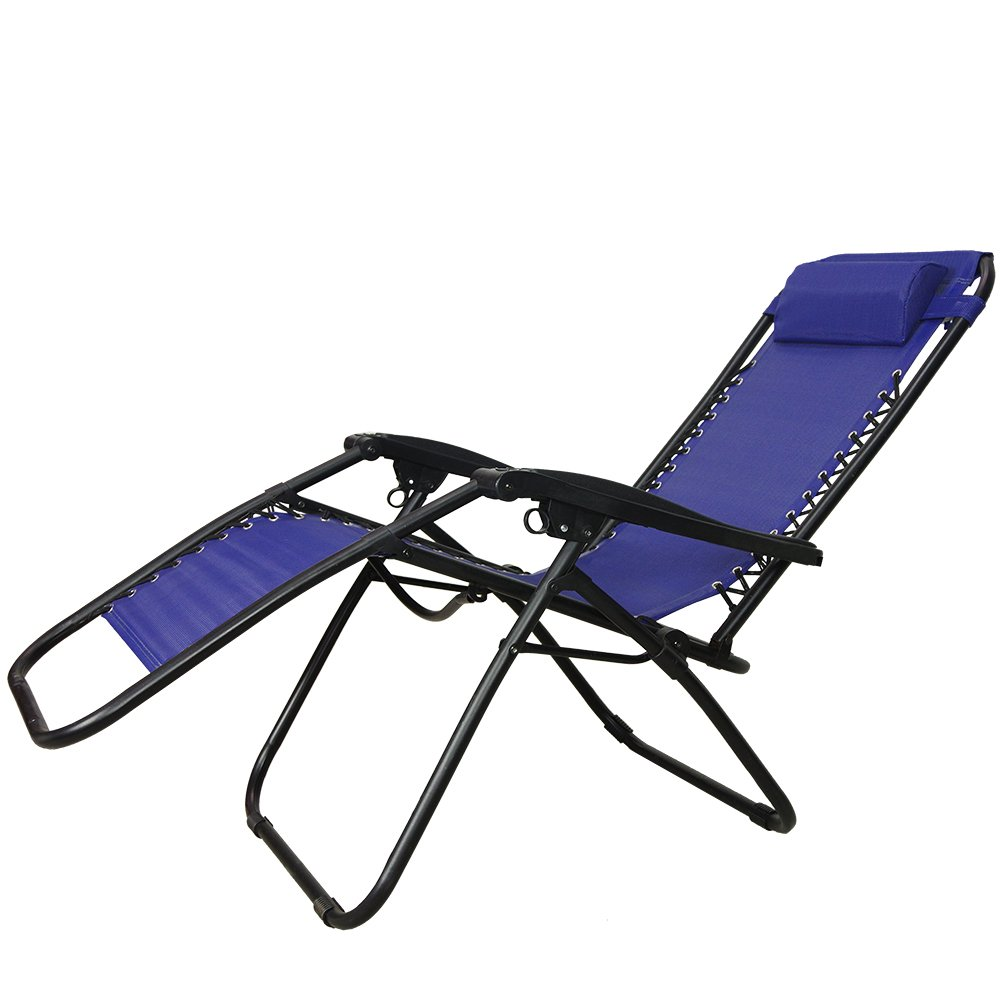 PARTYSAVING Infinity Zero Gravity Outdoor Lounge Patio Folding Reclining Chair Set of 2 APL1015 W/Cupholder (Blue) by PARTYSAVING (Image #3)