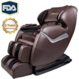 Real Relax Massage Chair Recliner, Zero Gravity Full Body Best Budget Shiatsu Electric Massage Chair with Heat and Foot Rollers(Brown)