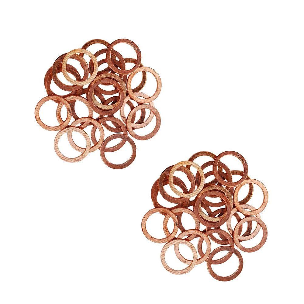 Flat Ring Sump Plug Oil Seal Gasket Sealing Fitting Washers,Oil Pump Nozzle Gasket,Wear-Resistant Pressure Gauge Flat Gasket Seal M24 x 30 x 1.5mm KingBra 30PCS Copper Washers