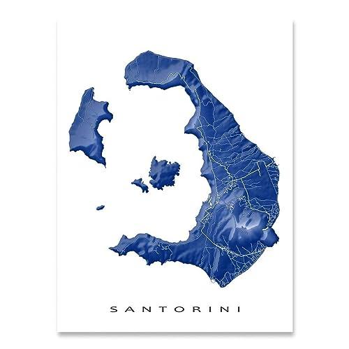 Amazon Com Santorini Map Art Print Greece Thira Greek