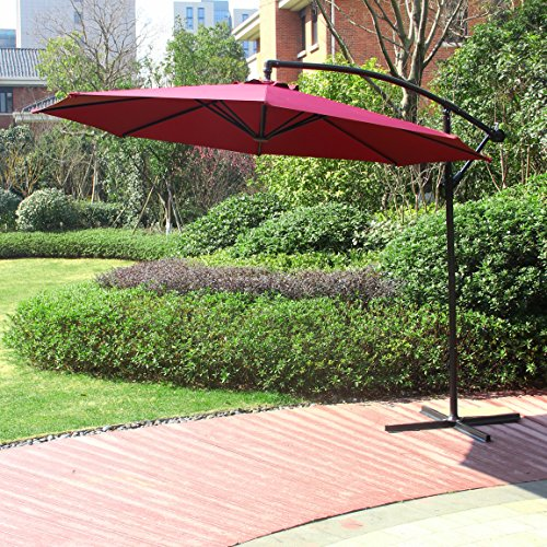 Cloud Mountain 10 Ft Cantilever Patio Umbrella, Beach Umbrella Outdoor UV Resistant Polyester 8 Steel Ribs Beach Hanging Offset Patio W/T Umbrella with Cross Stand, Burgundy