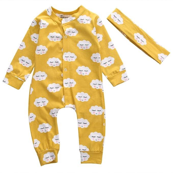 Kfnire Peleles para Dormir, Bebés niños niñas Nubes Mameluco de Manga Larga con Hairband 2pcs