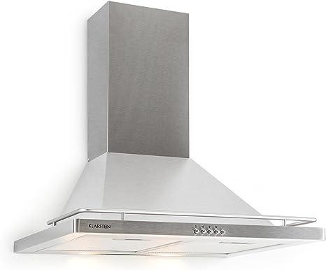 KLARSTEIN Timea campana extractora (capacidad extractora de 416m³/h, 60 cm, acero inoxidable, montaje en pared, 3 potencias, filtro aluminio apto lavavajillas, bajo nivel de ruido): Amazon.es: Grandes electrodomésticos