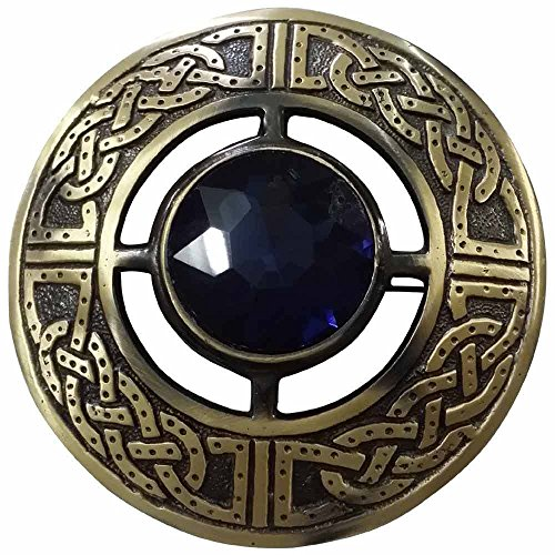 AAR Men's Scottish Celtic Kilt Fly Plaid Brooch Antique Plated in Various Color Stones