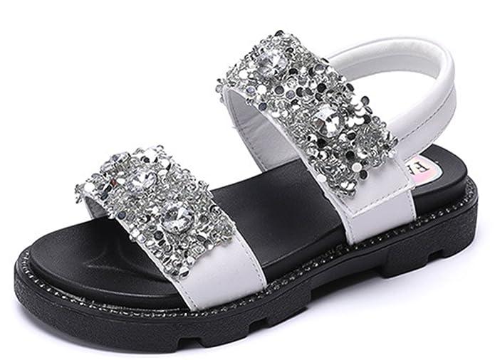 SFNLD InStar Boys Fashion Open Toe Hook and Loop Flats Sandals