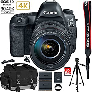 Canon EOS 5D Mark IV 30.4 MP Full Frame DSLR Camera + EF 24-105mm f/4L IS II USM Lens + EXTRA Canon LP-E6N Battery + 64GB Deluxe Accessory Bundle