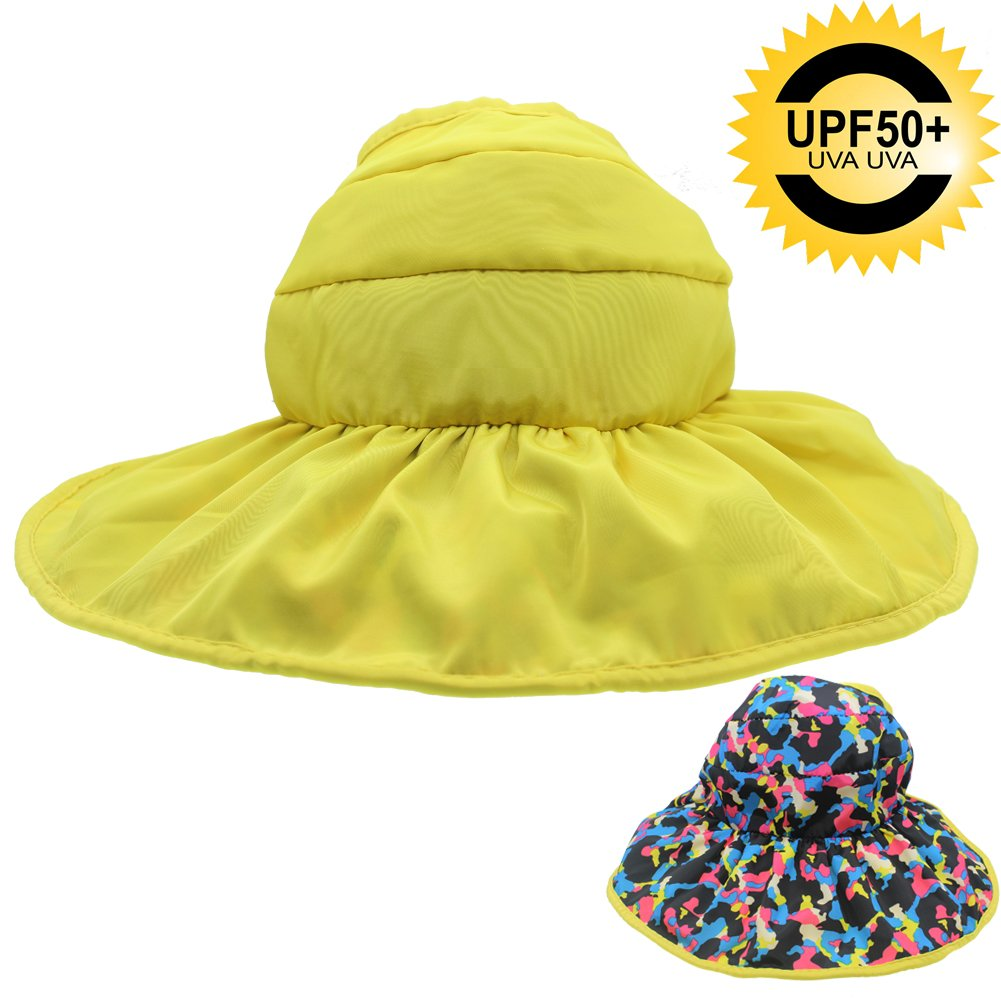 UPF 50+ Sun Hat for Youth Toddler Kids,2-Sides Wear UV Protection Collapsible Sun Hat Visor for Beach Hiking,Packable Portable Adjustable Chin Strap, Open TOP Roll up Sun Hat for Girls Child (Yellow)