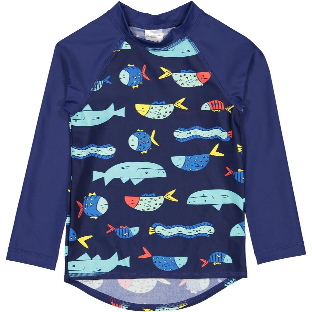 Polarn O. Pyret Fish Soup UV ECO Rash Guard Swim TOP (6-8YRS)