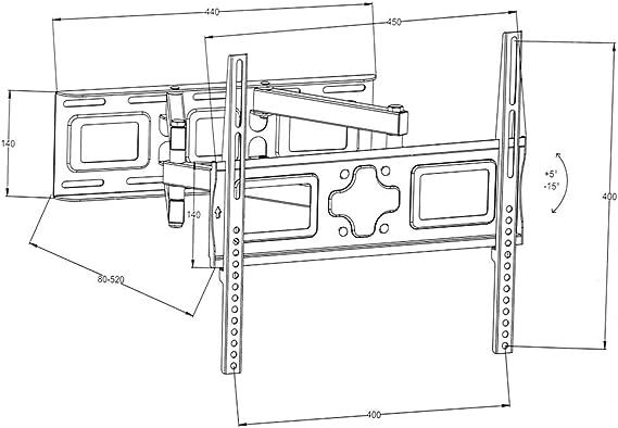 TecTake Soporte de Pared para TV de Pantalla Planta, inclinable y Giratorio VESA 400x400 máximo 100kg 66-140 cm (26
