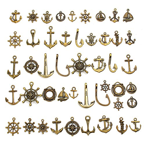 (100g(Approx 60-70pcs) Craft Supplies Antique Bronze Ship Wheel Anchor Charms Pendants for Crafting, Jewelry Findings Making Accessory for DIY Necklace Bracelet)