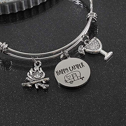 (Personalized Happy Camper Bracelet with Choice of Beverage Charm (and more!) Bangle with Camping Campfire)