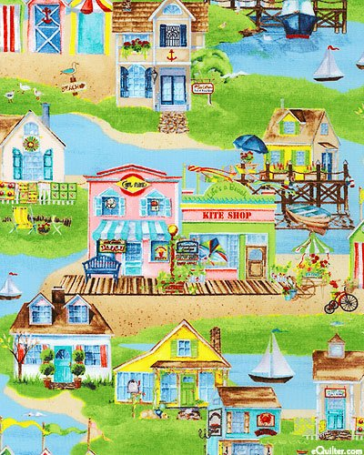Cottage Cupboard - 1 Yard Seaside Village by Nancy's Cupboard from South Seas Imports Wilmington Prints 100% Cotton Quilt Fabric 59017 724