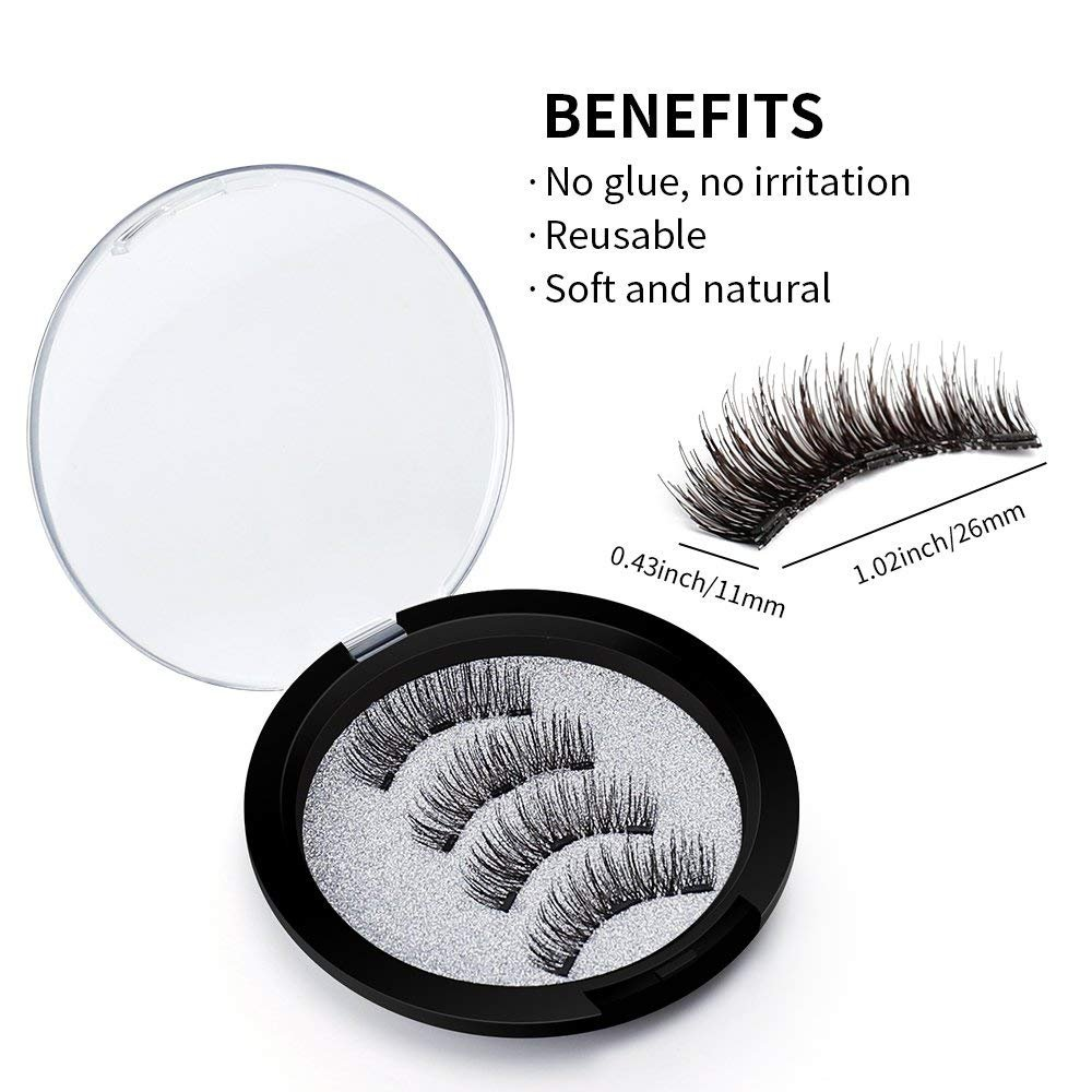 1170a29e0e1 Buy SBE 3D Magnetic False Eyelashes, Natural 3D Full Eye Fake Lashes,  Reusable Ultra Thin & Soft Lashes Extension For Natural Look(1 Pair/4 Pcs)  Online at ...