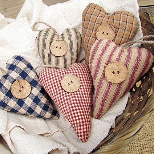 Set of 5 Homespun Fabric Heart Rustic Farmhouse Ornaments by Jubilee Creative Studio (Primitive Christmas Decorations)