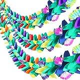 Maxdot 3 Pieces 9 Feet Long Tropical Multicolored Paper Tissue Garland Flower Banner for Luau Hawaiian Party Supplies