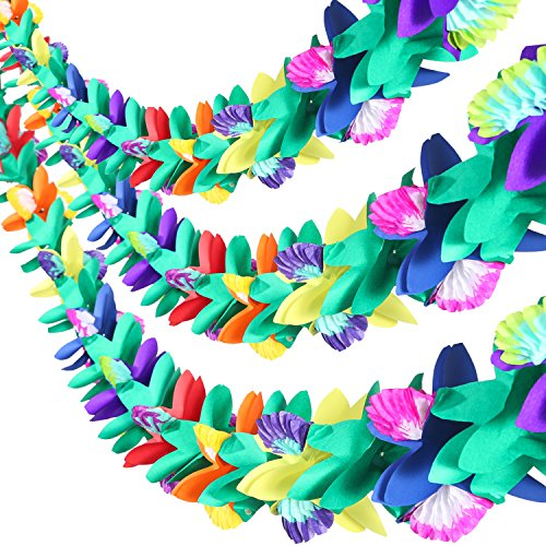 Maxdot 9 Feet Long Tropical Multicolored Paper Tissue Garland Flower Banner for Luau Hawaiian Party Supplies (3 Pieces)