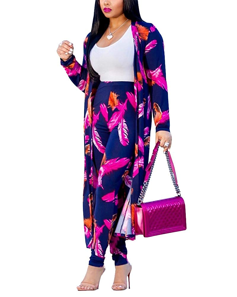 3 Purple Remxi Women 2 Piece Outfits Clubwear Long Sleeve Open Front Cardigan and Pants Set