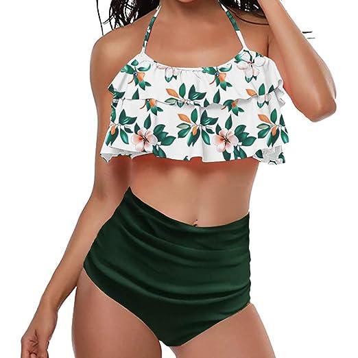 acff945de58 Amazon.com  Women Two Piece Off Shoulder Ruffled Flounce Crop Bikini Top  with Print Cut Out Bottoms Swimwear  Clothing