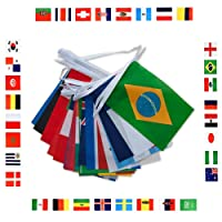 2018Fußballweltmeisterschaft Wimpelkette, 9m lang 14* 21cm mit 32Nationalflaggen