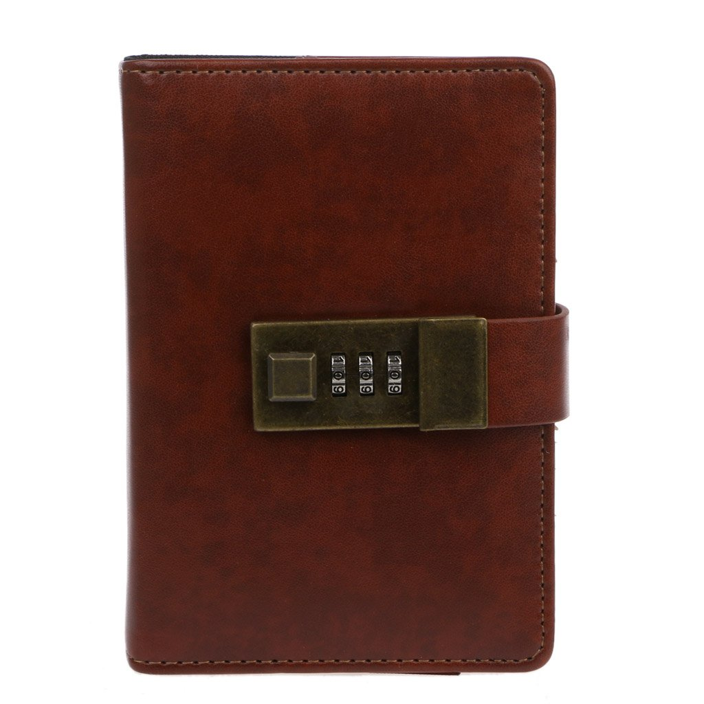 CHBC Vintage Retro A7 Codebook Journal Diary with Password Lock for Office School Use (Brown)