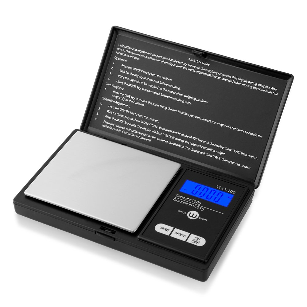 Weigh Gram Scale Digital Pocket Scale,100g by 0.01g,Digital Grams Scale, Food Scale, Jewelry Scale Black, Kitchen Scale (TOP-100) by Weigh Gram