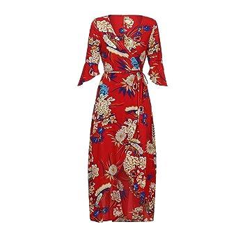 7ba429727c Amazon.com: Hemlock Wrap Dress Hawaii Sundress Long Maxi Dress Women V Neck  Floral Boho Dress (XL, Red): Home Audio & Theater