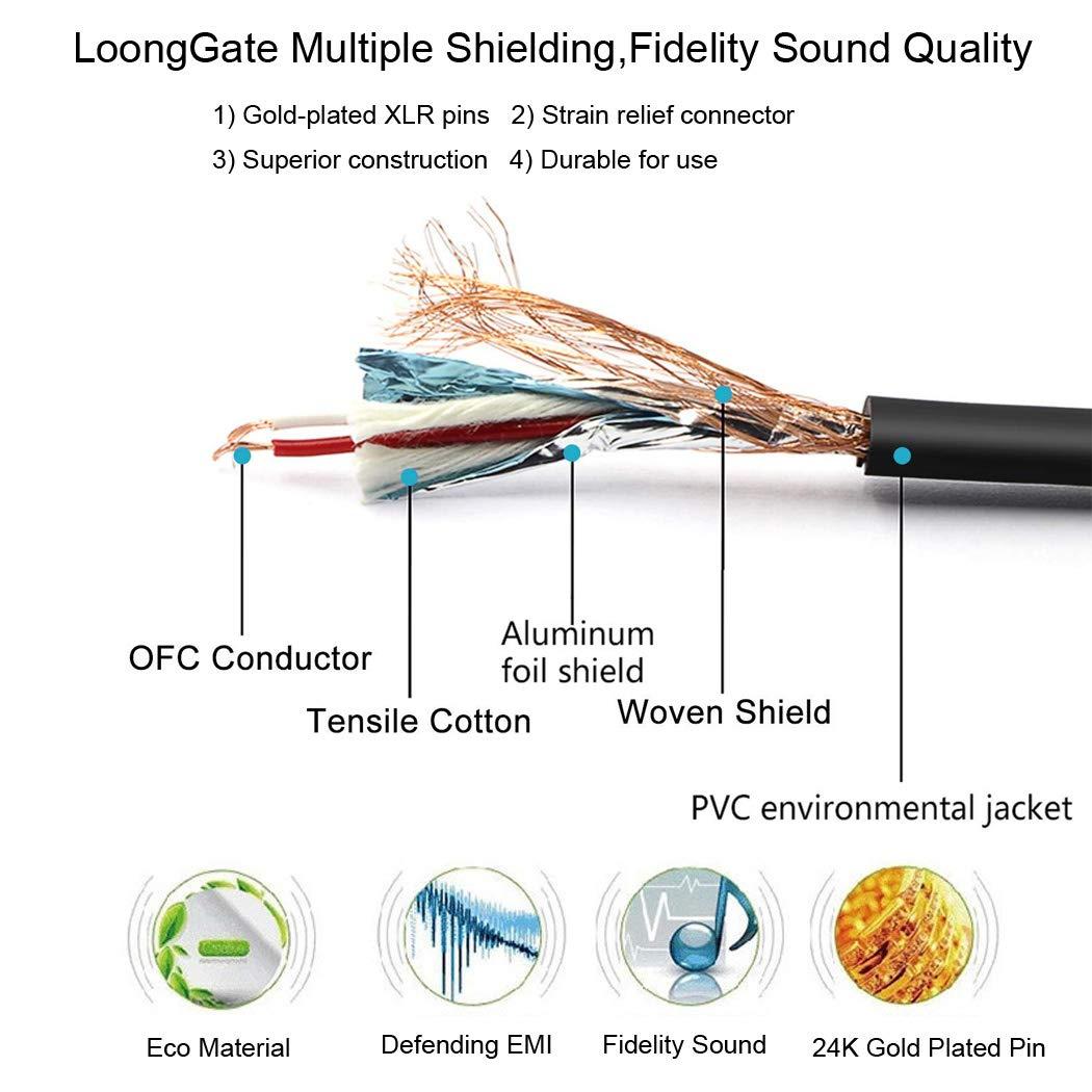 LoongGate corto equilibrado MIC cables XLR 3 pines macho micr/ófono hembra blindado cable de audio 0.5m, rojo