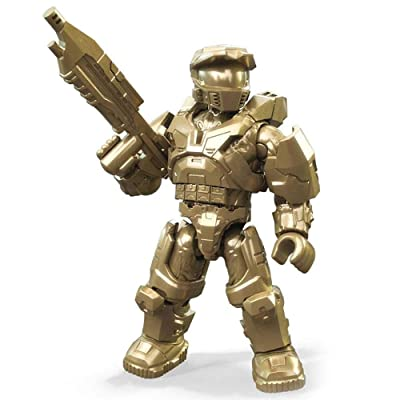 Halo Mega Construx Golden HCE Master Chief 10th Anniversary Gold Series: Toys & Games