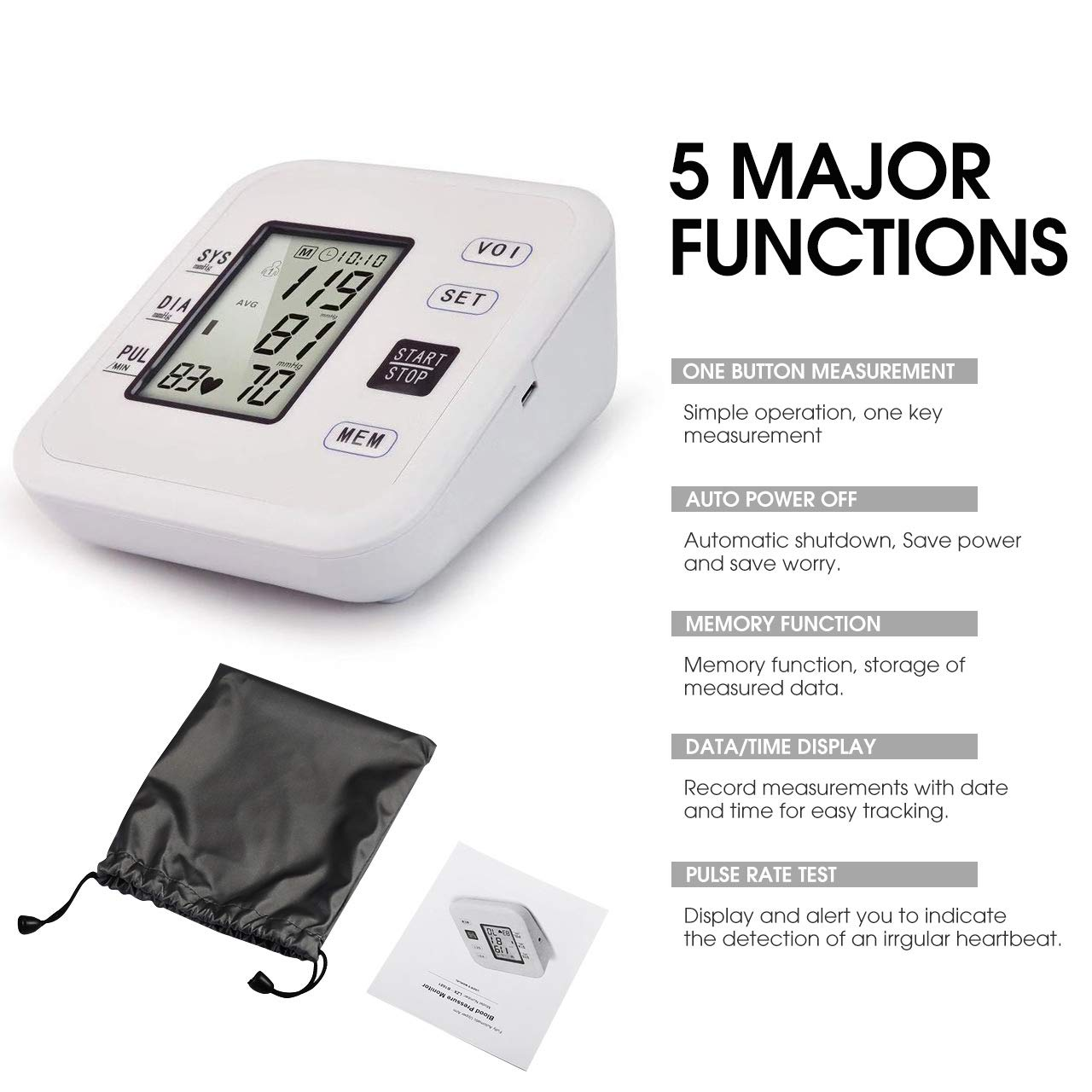 Amazon.com: Blood Pressure Monitor Automatic Upper Arm Digital BP Dual User Mode+99 Set Memory Per Person for Home Use with Adjustable Cuff LCD & Talking: ...