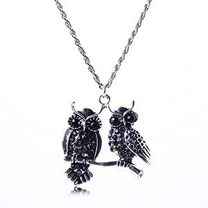 Diamond Owl Explosion models exaggeration fashion retro false collar necklace