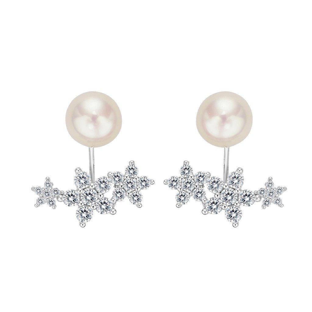 EleQueen 925 Sterling Silver CZ 9mm AAA Button Cream Freshwater Cultured Pearl Flower Bridal Modern Ear Jacket Drop Earrings