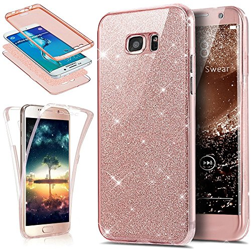 PHEZEN Galaxy S6 Edge Case, Front and Back 360 Full Body Protective Bling Glitter Sparkly Slim Thin TPU Rubber Soft Skin Silicone Protective Case Cover for Samsung Galaxy S6 Edge (Pink)