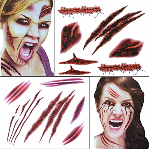 COKOHAPPY 2 Large Sheets Halloween Temporary Tattoo , Wound Scar Bleeding , Costume Party and Zombies (Bride Halloween Makeup)