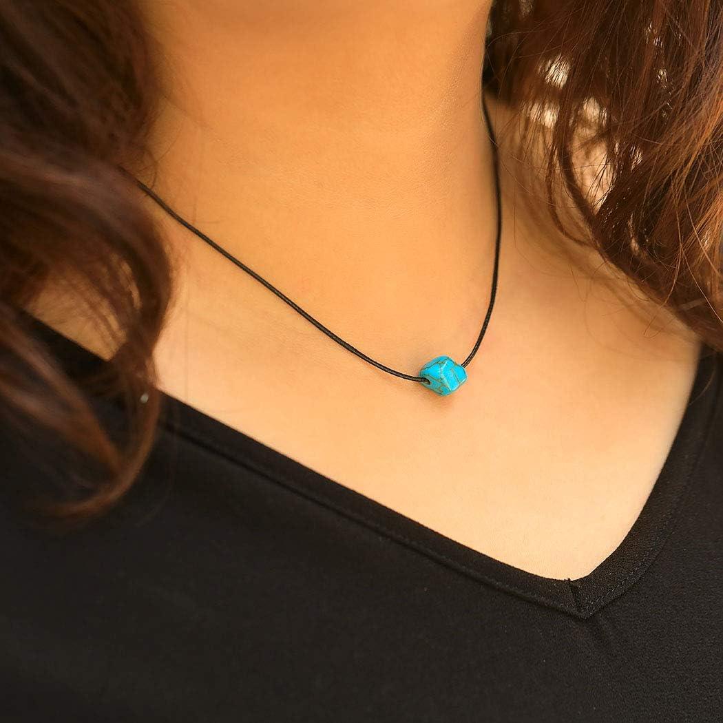Simsly Boho collar turquesa negro colgante collar cadena judía para mujeres y niñas