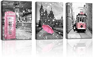Wall Art Decor London Big Ben Tower Landscape Canvas Painting Posters and Prints Pink Bus Telephone Booth Winter Snow Scene Black and White Architecture Oil Painting for Living Room Home Decoration