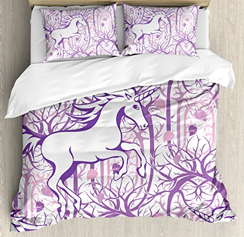 Ambesonne Unicorn Home and Kids Decor Duvet Cover Set, Unicorn Galloping on Curved Swirled Tree Branches in Forest Theme Design, A Decorative 3 Piece Bedding Set with Pillow Shams, Queen/Full, Purple -