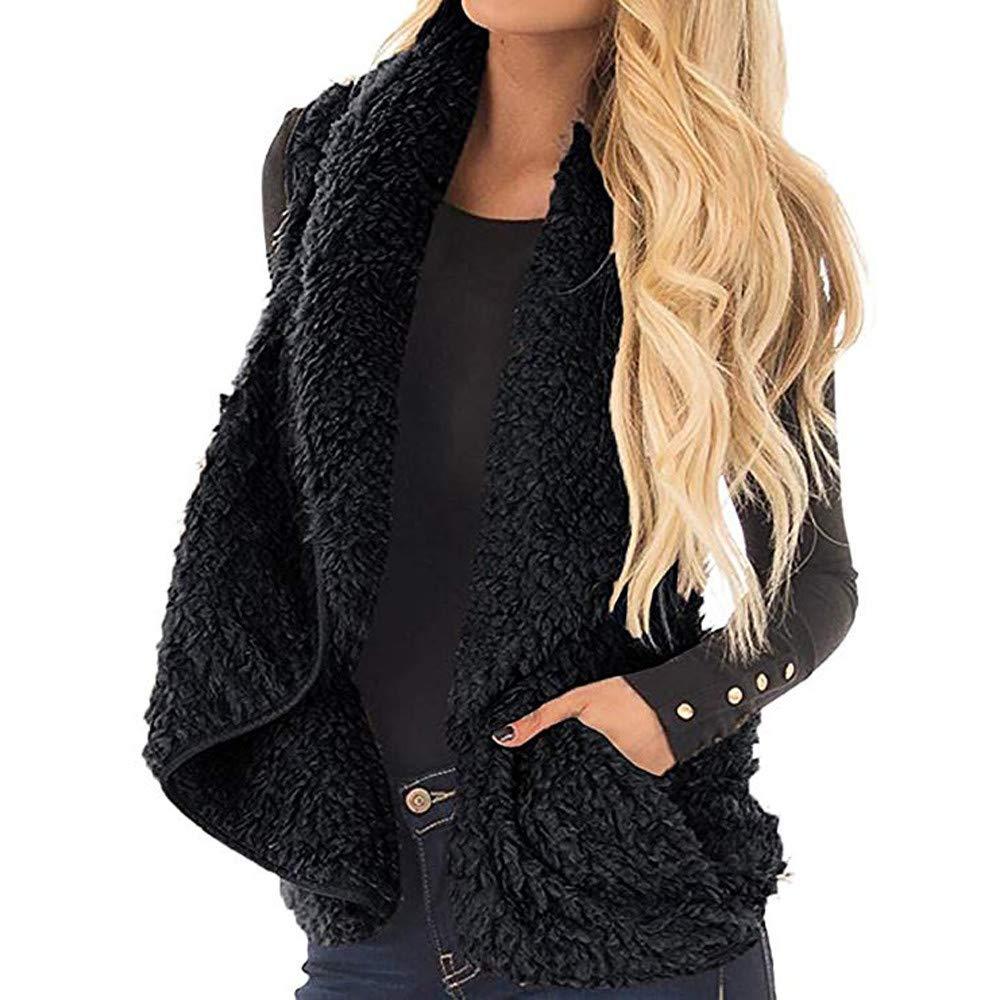NUWFOR Women Open Front Lapel Draped Sherpa Fleece Vest Faux Fur Jacket Coat Cardigan(Black,M)
