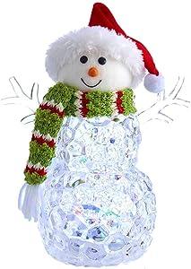 Kurt S. Adler Kurt Adler 9.45-Inch Battery-Operated Light-Up Snowman Table Piece, Multi