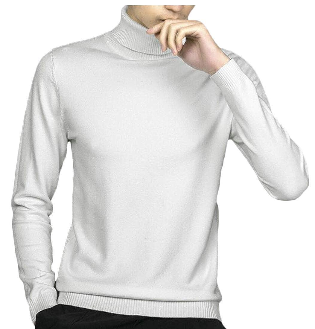 Gocgt Men Blouse Slim Fit Knitted Pullover Turtleneck Sweater