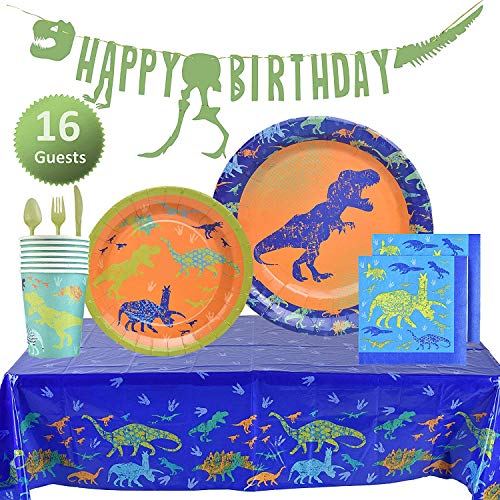My Greca Dinosaur Party Supplies Set - Plates, Cups, Napkins, Happy Birthday Banner, Table Cover, Cutlery Kit - Serves 16 - Jurassic T-REX Dinosaur Themed Decorations for Boys]()