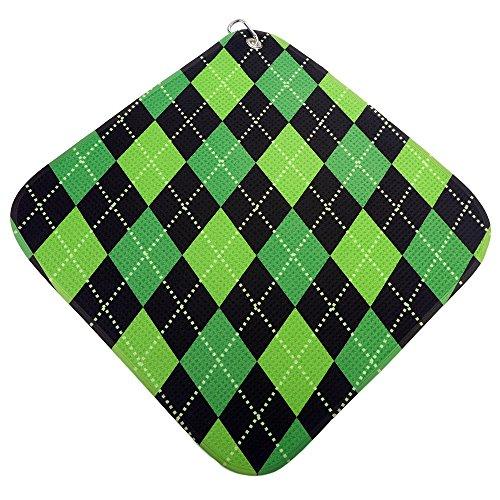 (Green-Lime-Black Argyle Print Microfiber Golf Towel by BeeJos)