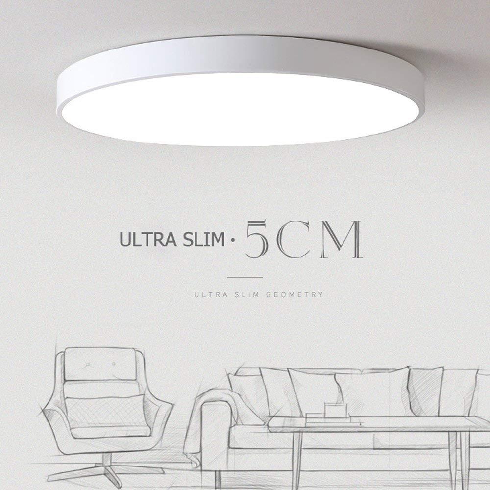 Ceiling Lights Ultra Slim 5CM LED Light,200W Incandescent Bulbs Equivalent,KTZON Matte Black White Flush Mount 6000K Daylight White LED fixtures,Ultra-Thin Eco-Friendly Lamps (White, 3000K)