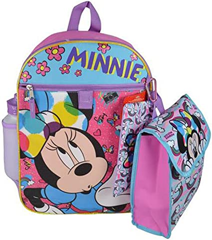 """DISNEY MINNIE MOUSE GIRLS 16/"""" SCHOOL BACKPACK WITH LUNCH BAG NWT!"""